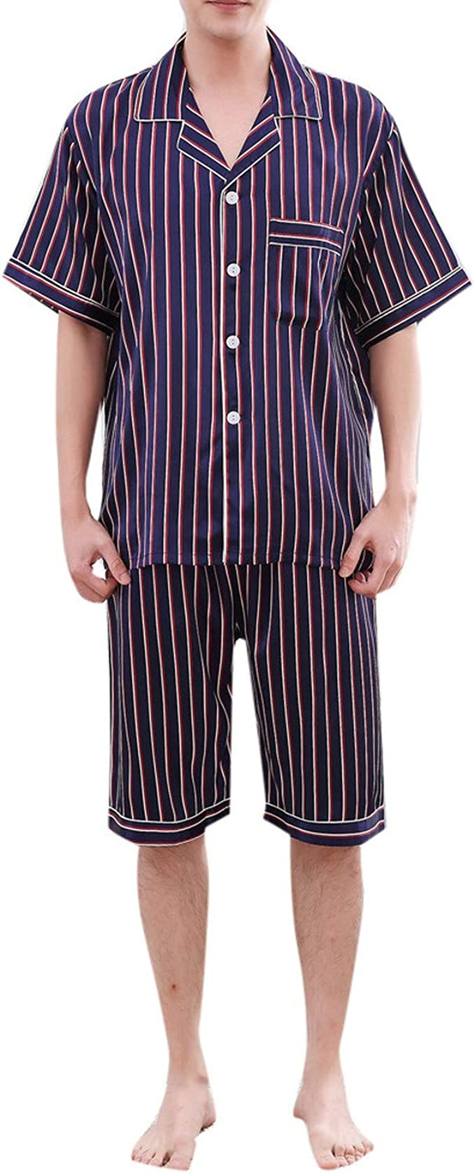 Men Pyjama Set Satin Silk Summer Suit Short Sleeve Sleepwear Spring Nightgown