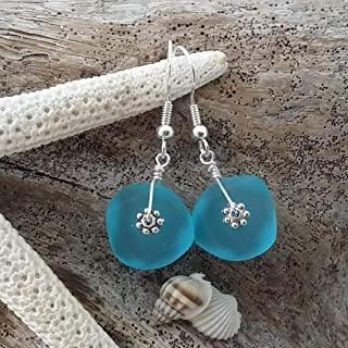 product image for Handmade in Hawaii, blue sea glass earrings, (Hawaii Gift Wrapped, Customizable Gift Message)