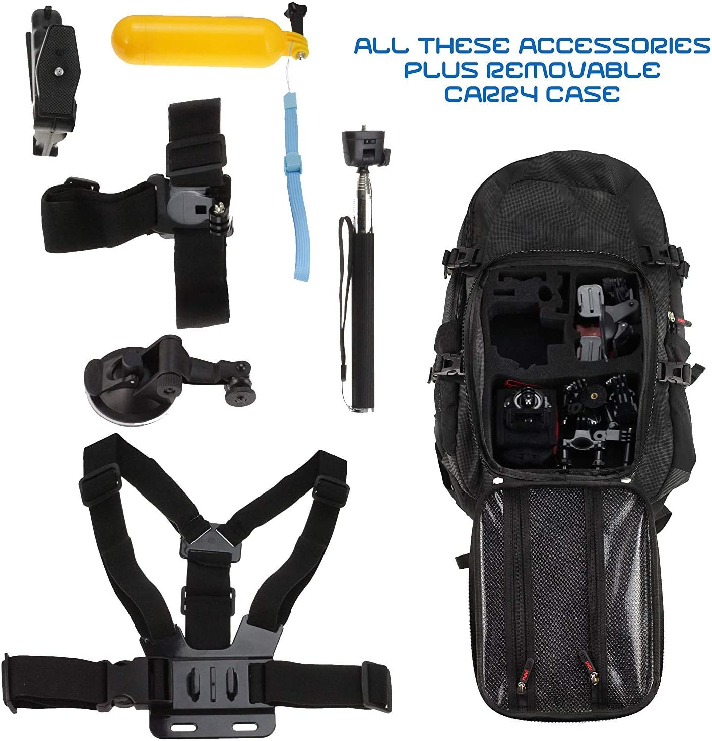QUMOX F21 Silver Action Cam Replay XD720 Action Cam Navitech Action Camera Backpack /& 18-in-1 Accessory Combo Kit with Integrated Chest Strap Compatible with The Pictek Waterproof Action Cam