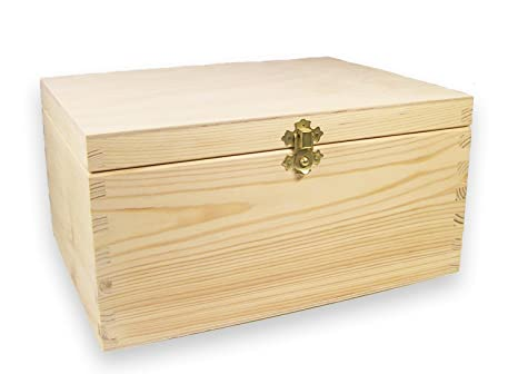 Grandes de Madera Joyero, Caja de madera, Cofre del Tesoro, pino sin tratar