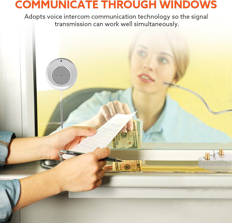 Elikliv Dual-Way Window Speaker System Interphone Window Intercom fit for Glass Office Ticket Window Bank Hospital Window Window Speaker Intercom