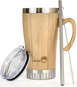 Bamboo Travel Mug with Handle - Leak Proof Lid, Eco-Friendly Tumbler. Stainless Steel Straw Included. Insulated, Splash Proof Cup for Coffee or Tea. 16 Oz