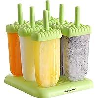 Redlemon Moldes para Paletas de Hielo Reutilizables (6 piezas), Plástico Libre de BPA, con Base para Congelador…
