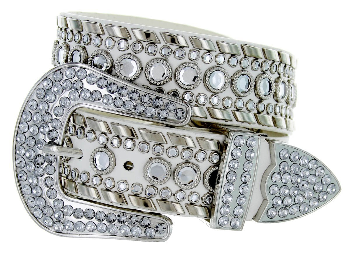 Western Cowgirl Bling Belt with Rhinestone Buckle Set and Studded Strap (40, Black) 50118-BLK-40