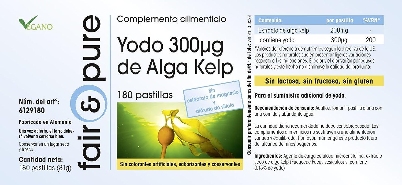 Yodo de Alga Kelp 300mcg - 180 cápsulas - gran dosificación: Amazon.es: Salud y cuidado personal