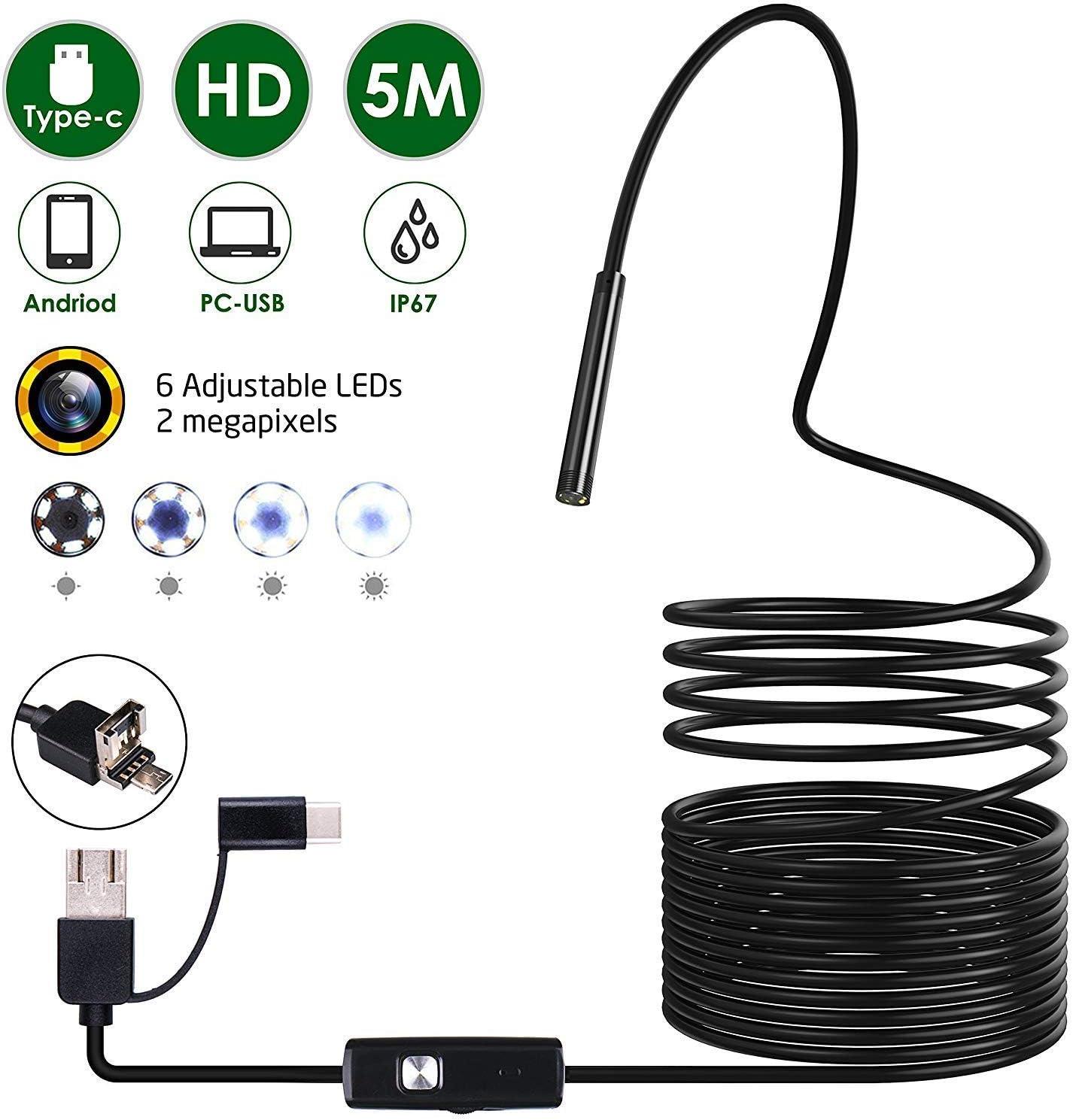 Omew Endoscopio USB, Cámara de Inspección, 3 en 1 Tipo-c Micro USB y PC Cámara de inspección con boroscopio Android - Equipo Combo de endoscopio de 5 Metros. para Android teléfonos Inteligentes
