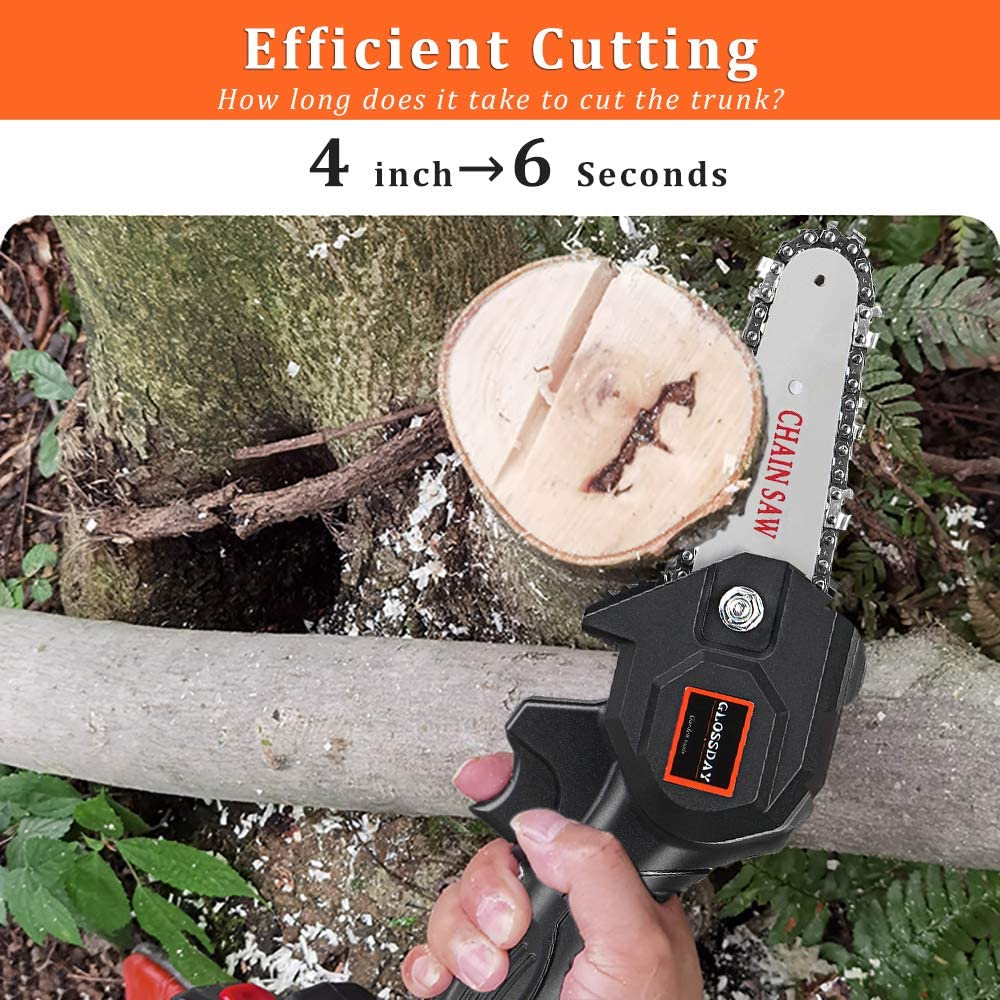 Small Cordless Battery Chain Saw GLOSSDAY Mini Chainsaw Hand-held ...