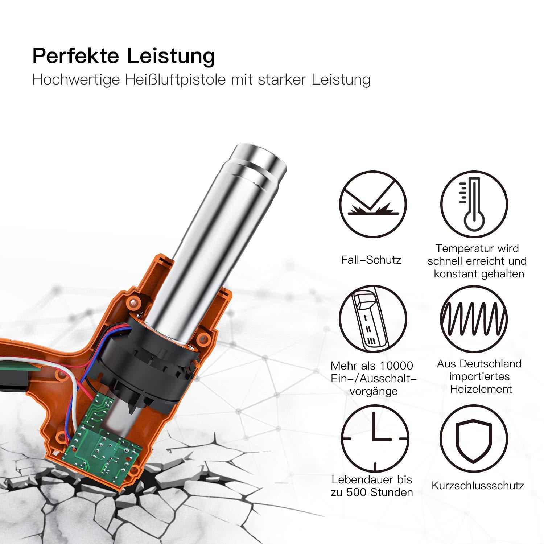 Pistola de aire caliente profesional con 3 niveles de temperatura 50 /°C, 450 /°C, 550 /°C, 230 V, 1800 W Tacklife HGP70AC