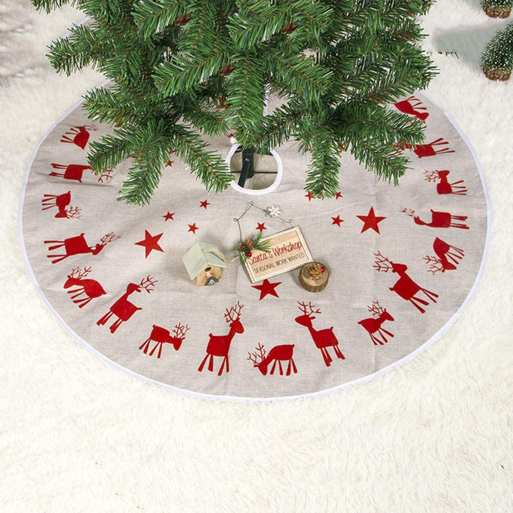 A 40 inches Xmas Tree Skirt Round Floor Carpet Christmas Tree Decorations Christmas Holiday Decorations Indoor Outdoor Mat YAMY Christmas Tree Skirt