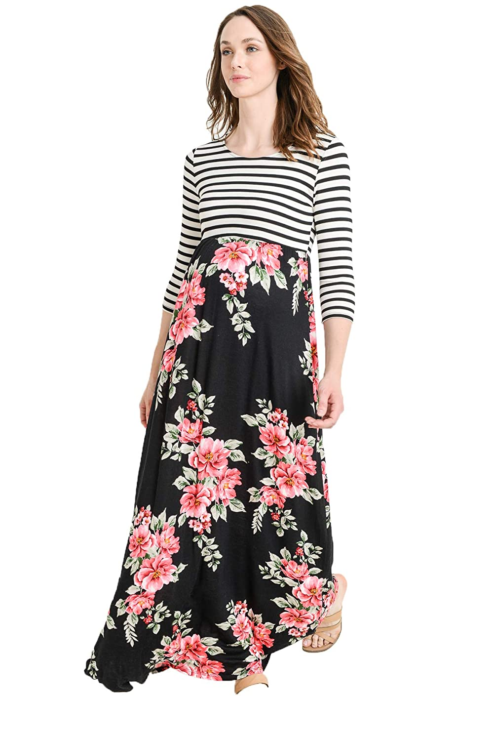 Hello MIZ DRESS レディース B07GC7R2TJ Large|Black/Blush Flower Black/Blush Flower Large