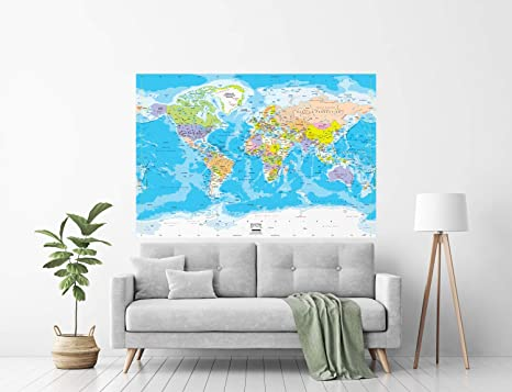 Amazon Com Academia Maps Large 62 X 42 Blue Ocean World Map Wall Decal Easy To Hang Wallpaper Stick And Peel Wall Map Of The World Easy To Apply Reposition Remove