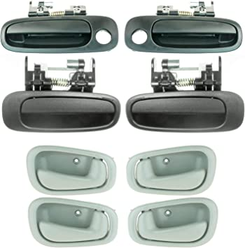 Fits Toyota Corolla Outside Inside Door Handle Set 8 Textured Black and Gray