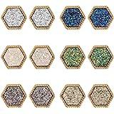 Lullabb 6 Pairs Women Crystal Druse Stud Earrings Hypoallergenic Geometry Shiny Druzy Ear-ring Men boys Fashion Jewelry…