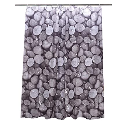 Lzn Oval Rocks Shower Curtain Waterproof Fabric Pebbles Stone Cobble Design Bathroom 180x180cm