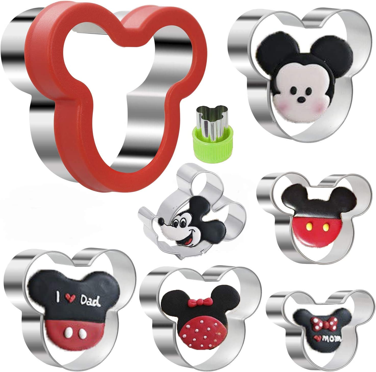 KAISHANE Mickey Mouse Cookie Cutter Set,Stainless Steel Sandwich Cutter Set Mickey Mouse Cookie Vegetable Fruit Cutter Biscuit Mold for Baking