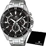 【セット】[カシオ] CASIO 腕時計 EDIFICE エディフィス 100m防水 クロノグラフ EFR552D-1A メンズ &ROOSTER マイクロファイバークロス 15×15cm付き [並行輸入品]