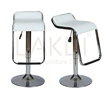 Lakdi Leatherette Chrome Steel Bar Chair, Stool Set of 2 Combo MFN(132111_Pcs_C)
