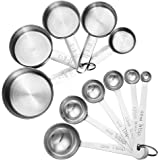 Accmor 11 Piece Stainless Steel Measuring Spoons Cups Set, Premium Stackable Tablespoons Measuring Set for Gift Dry Liquid Ingredients Cooking Baking