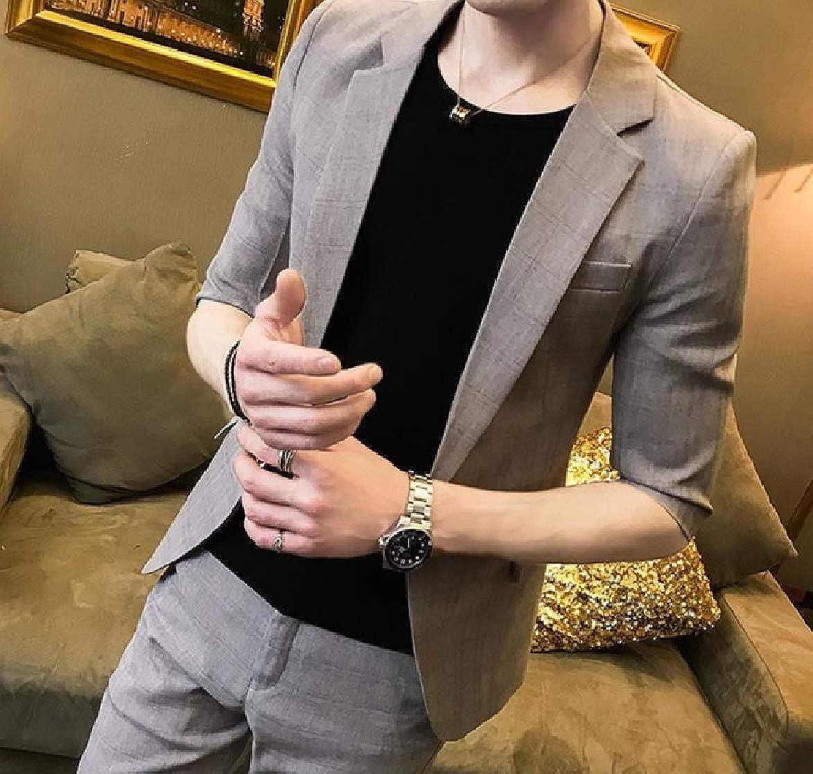 HEFASDM Mens Skinny 3//4 Sleeve Lapel Single Button Dress Suits Blazer+Pants