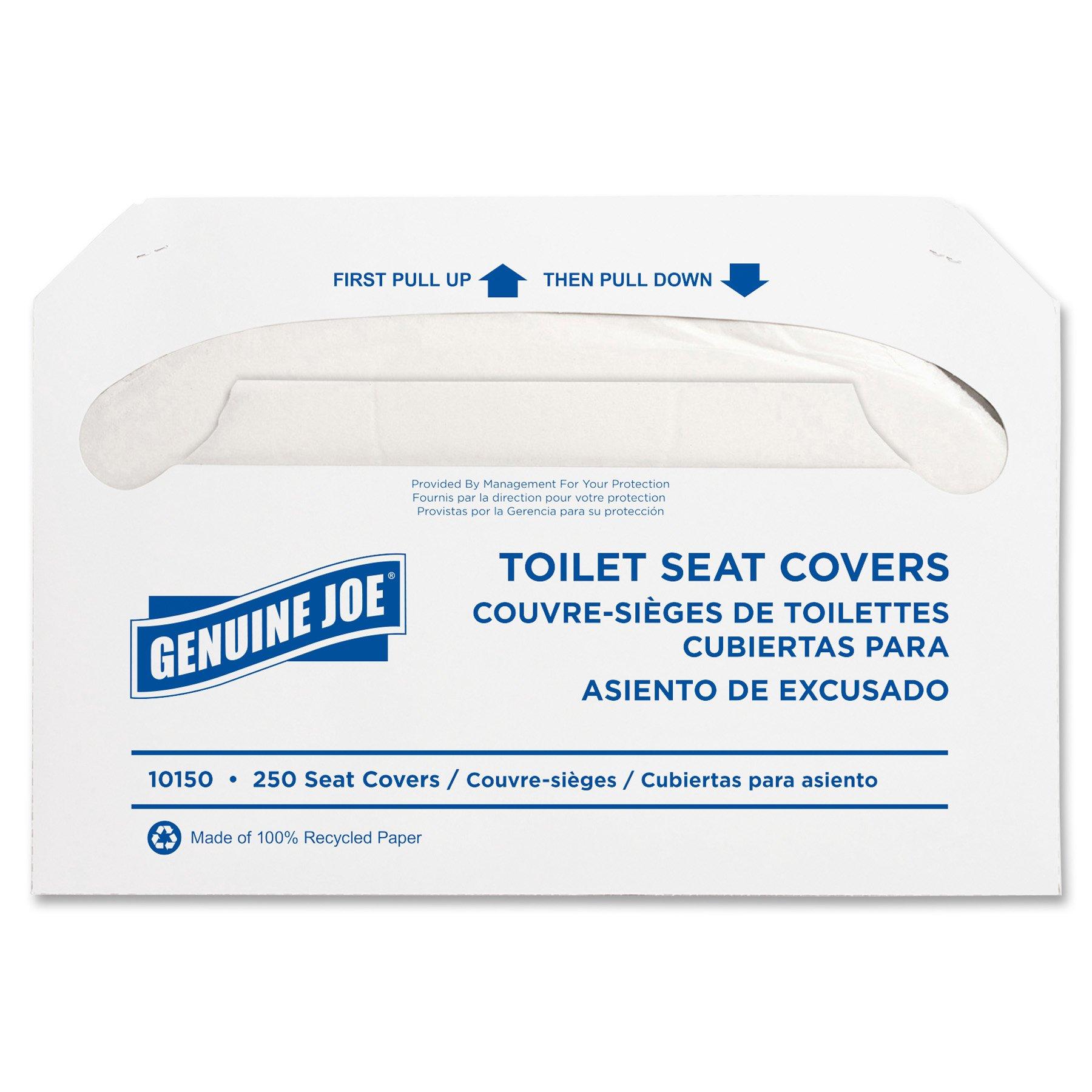 Genuine Joe GJO10150 Recycled Toilet Seat Cover, White (Case of 2500) by Genuine Joe