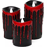 Black Bleeding Candles, Party Tricks Prank Props, Creepy Joke Toy, 7.6x10.2/12.7/15.2cm,Pack of 3