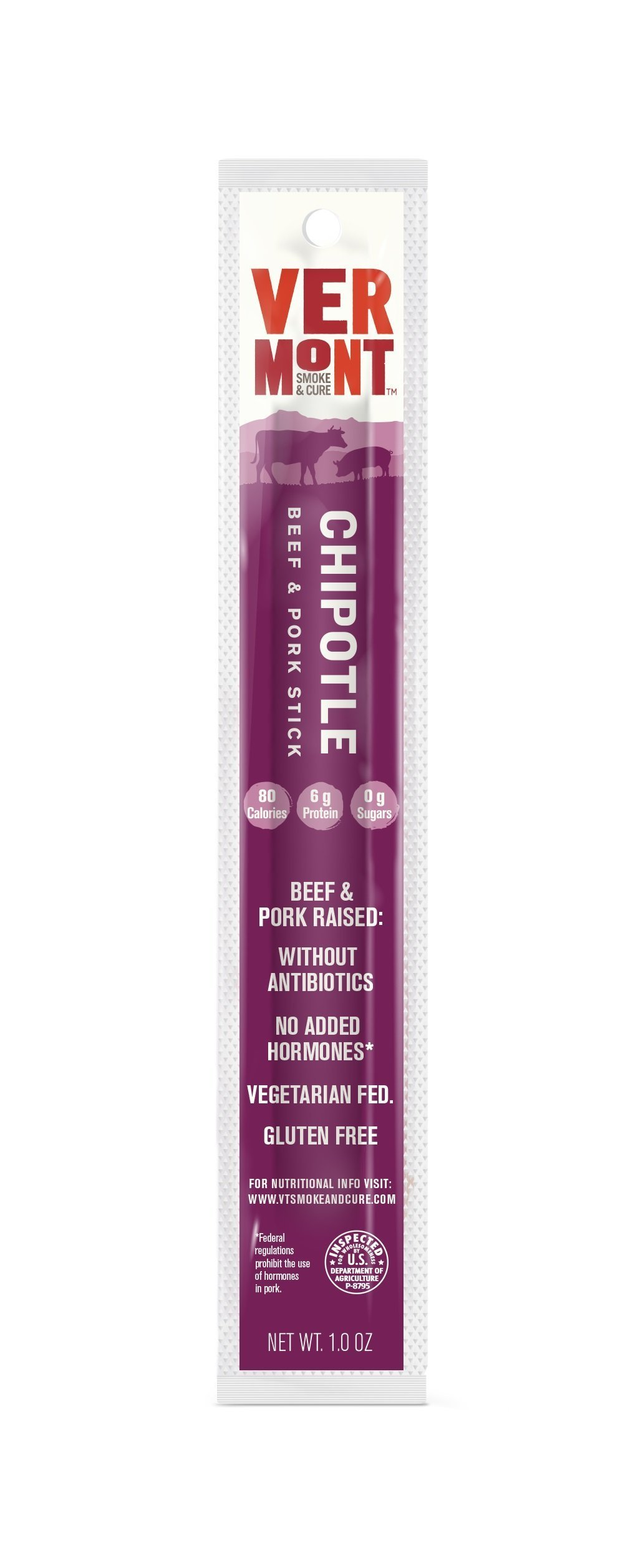 Vermont Smoke & Cure Meat Sticks, Beef & Pork, Antibiotic Free, Gluten Free, Chipotle, 1oz Stick, 24 Count by Vermont Smoke and Cure (Image #3)