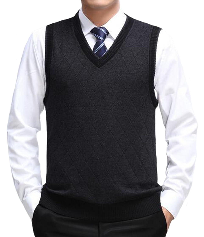 DD.UP Men's V-Neck Business Gentleman Argyle Pattern Knitted Sweater Vest