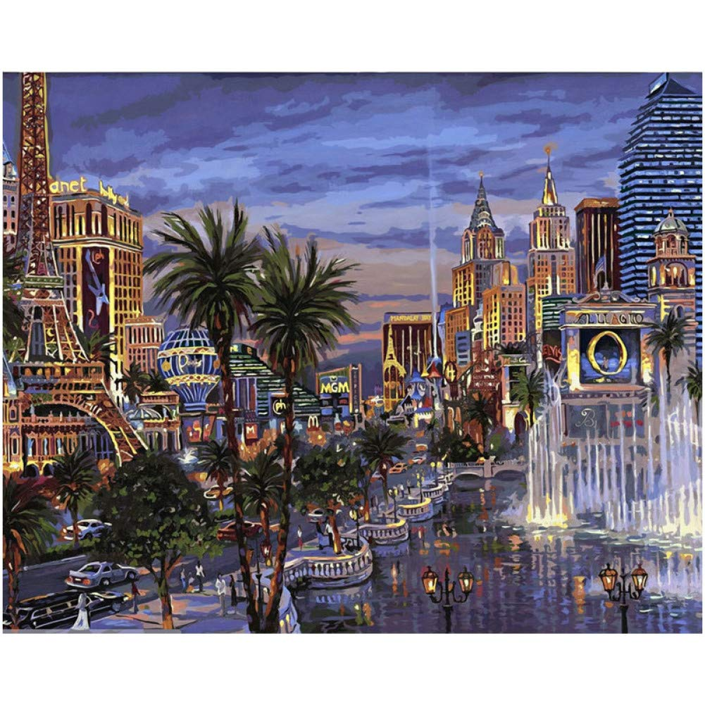 White 40x50cm frame XSUHAN Paint By Numbers Paris Night City Landscape Diy Oil Painting By Numbers Picture Room Decor Wall Art Pictures coloring By Numbers Painting 2.0