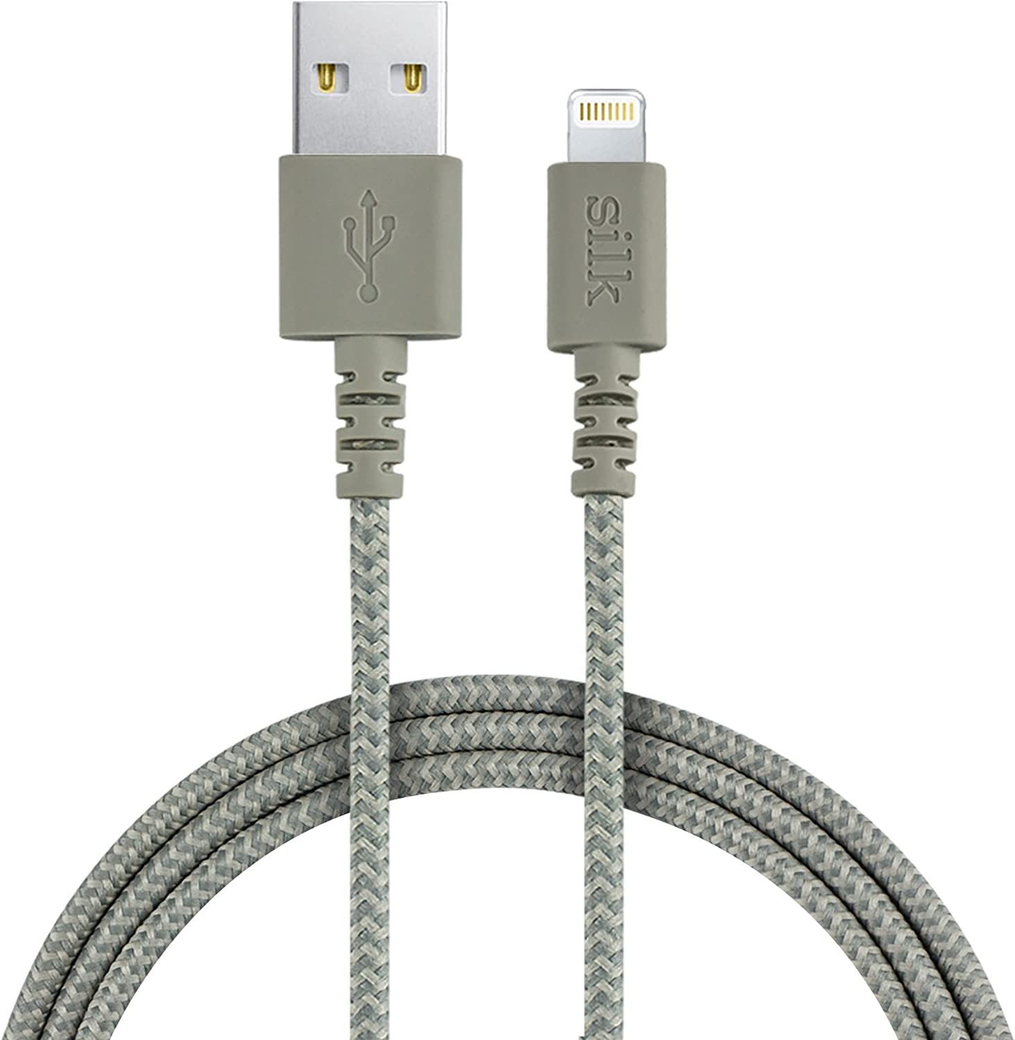 Smartish 6ft Fabric Wrapped Lightning Cable with 2 Port USB Wall Charger Silk Bolt 45 Apple MFi Certified Cord for iPhone and iPad - Lightly Toasted Beige
