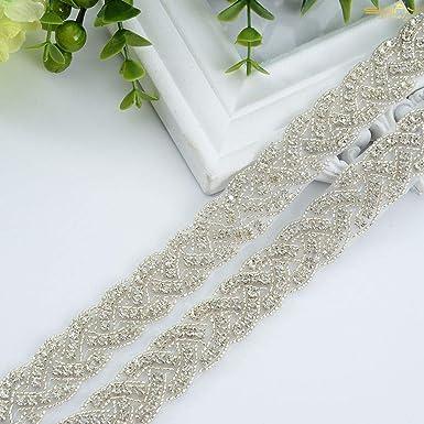 Pearl /& Rhinestone Diamante Chain Trim Wedding Dress Belt Bridal Applique