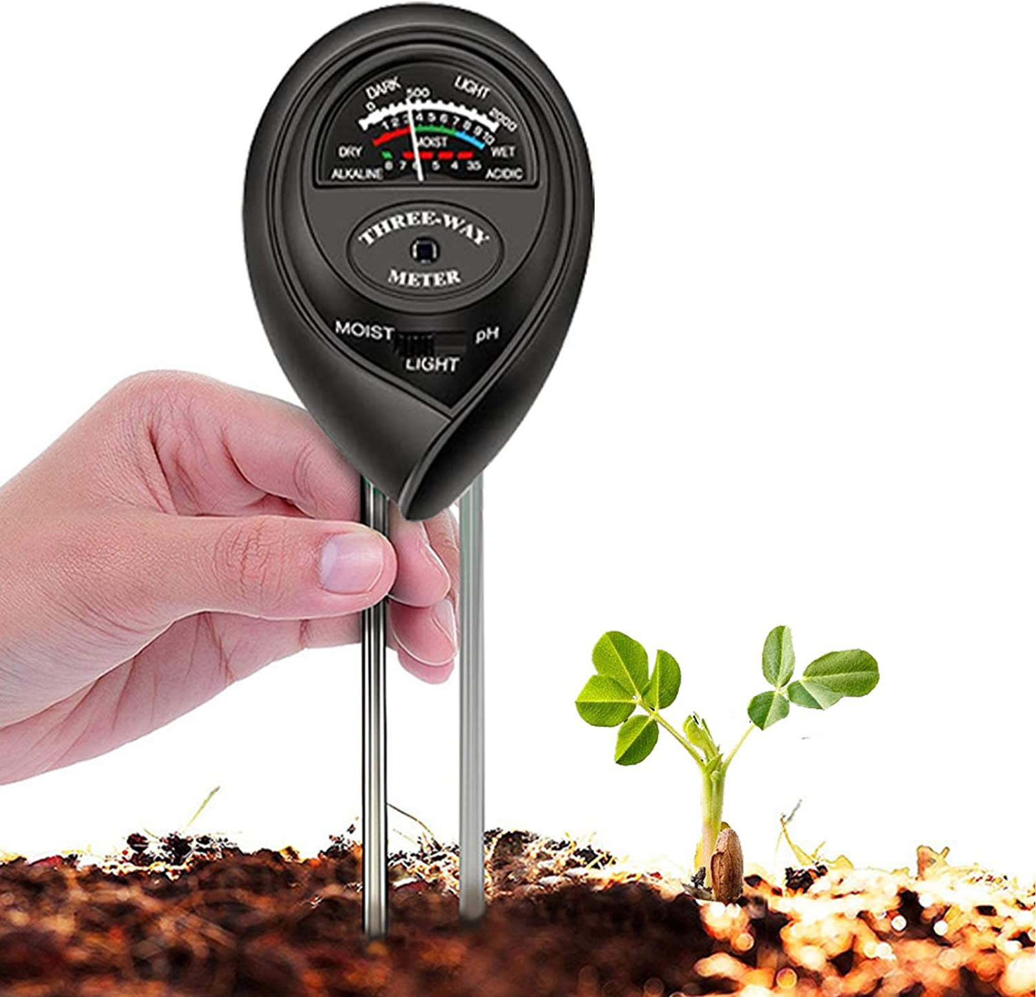 Gardens Farms Without Battery C1 Round 3-in-1 Soil Tester Moisture Analyzer Homes Light and PH Acid and Alkali Tester for Plants