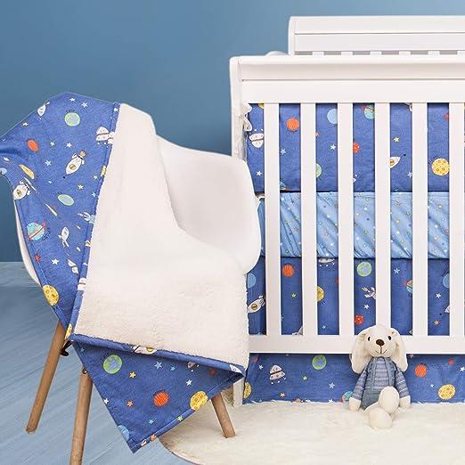 Lambs /& Ivy Milky Way 4-Piece Crib Bedding Set White Modern Gray Blue