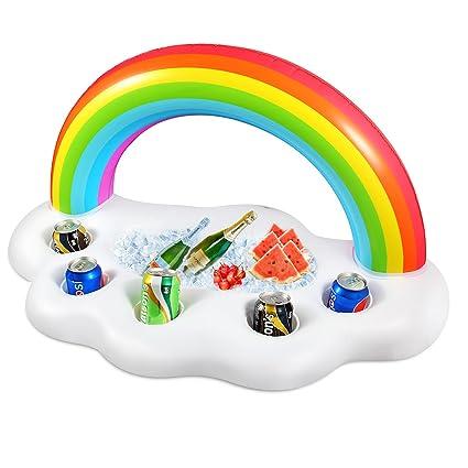 Geekper Inflatable Rainbow Cloud Drink Holder Floating, Beverage Salad  Fruit Serving Bar Pool Float Party