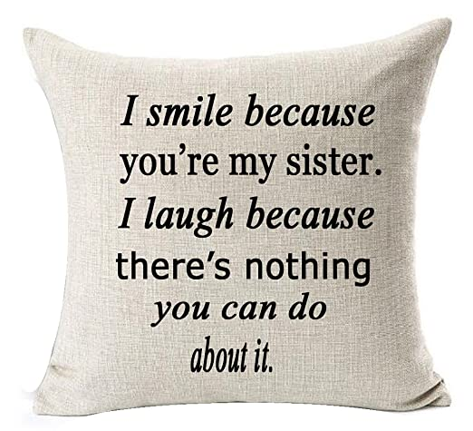 I smile because you are my Sister hacer amigo manta de lino ...