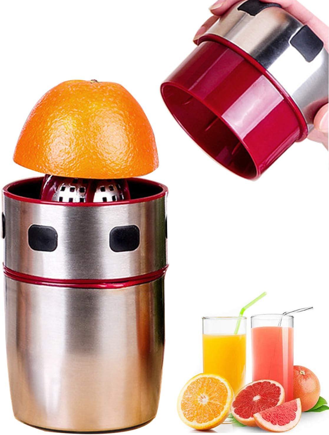 Citrus Juicer Stainless Steel Juicer Extractor Lemon Lime Orange Grapefuit Juice Fruit Squeezer Juicers Machine Include Filter,Red,1 Piece