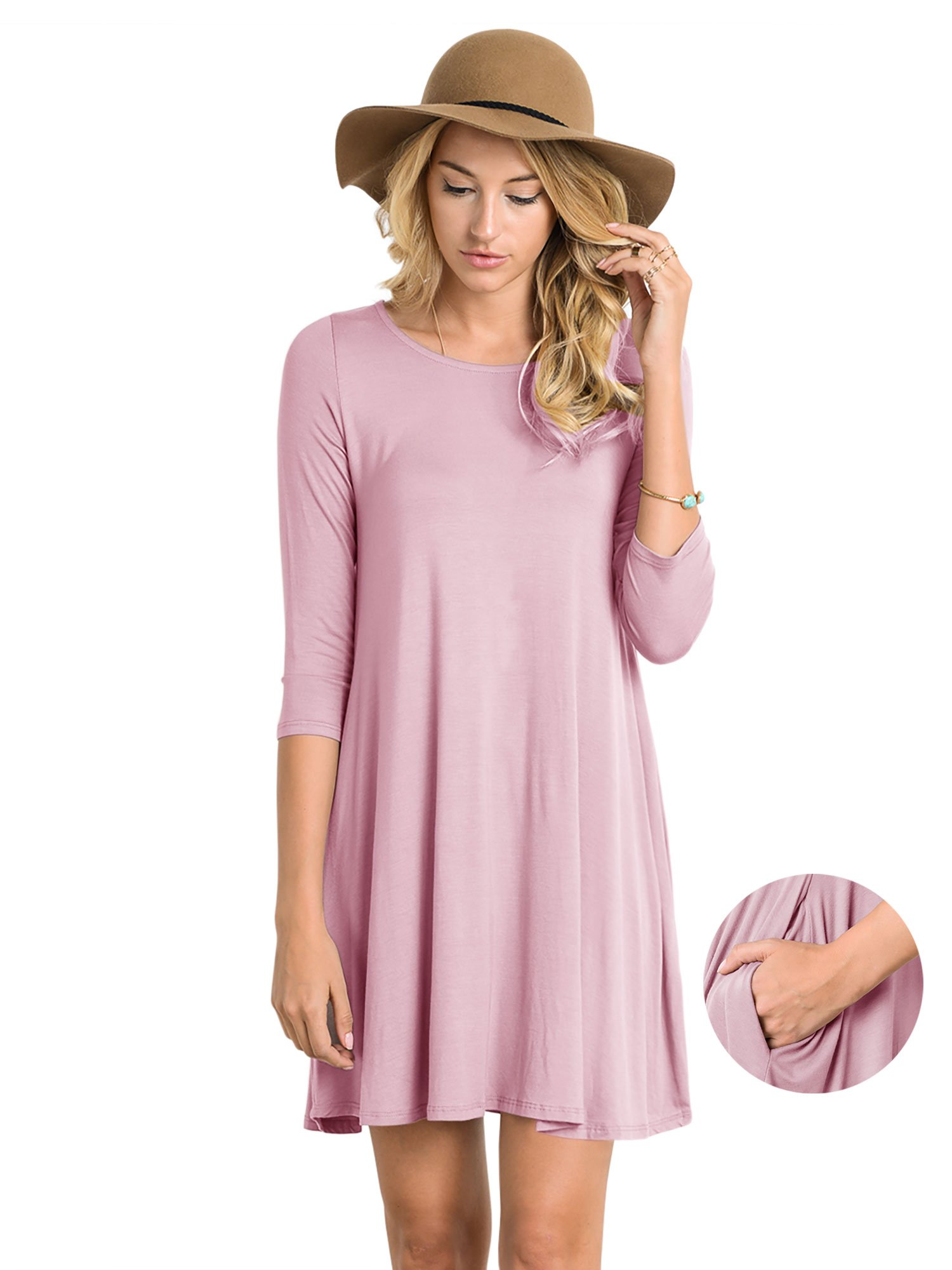 Fashion California FACA Womens Round Neck 3/4 Sleeve Tunic Dress with Side Pocket (