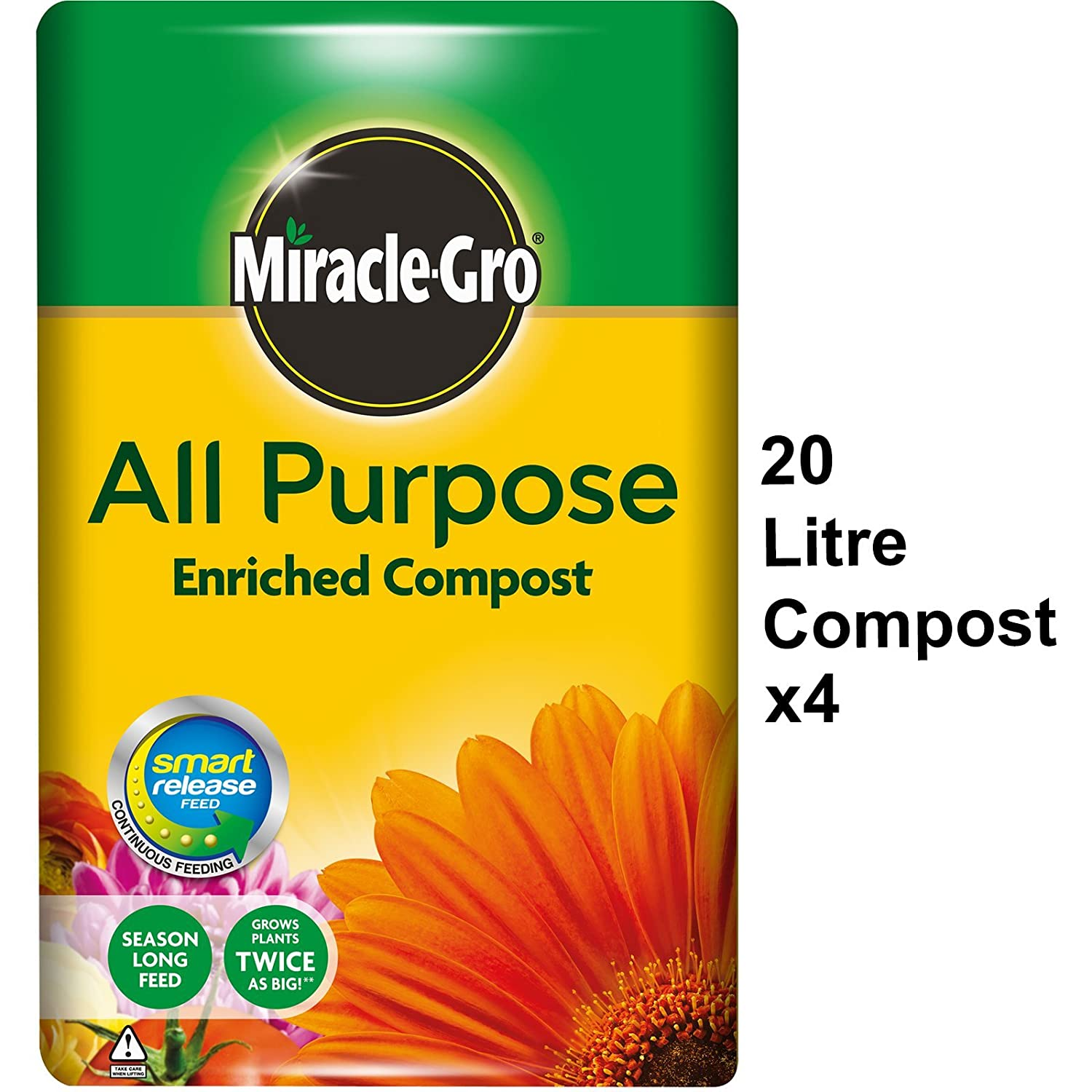 4x Miracle Gro All Purpose Growing Compost 20L Easy To Carry No Pain (4) Scotts