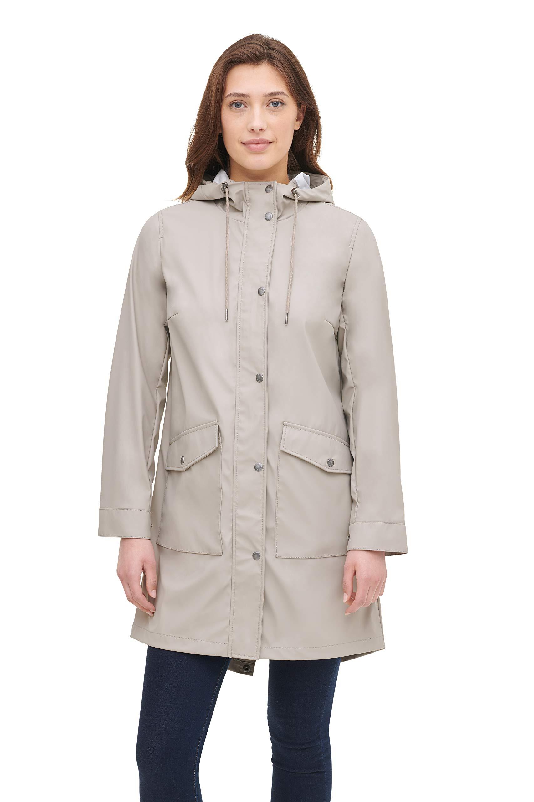Levi's Women's Lightweight Rubberized PU Fishtail Rain Anorak Parka Jacket, Sand, Large by Levi's