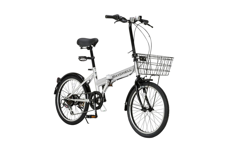 RayChell(レイチェル) 20インチ 折りたたみ自転車 R-241N シマノ6段変速 ノーパンクタイヤ グリップシフト フロントLEDライト付 シルバー [メーカー保証1年] B00BQU3FLE