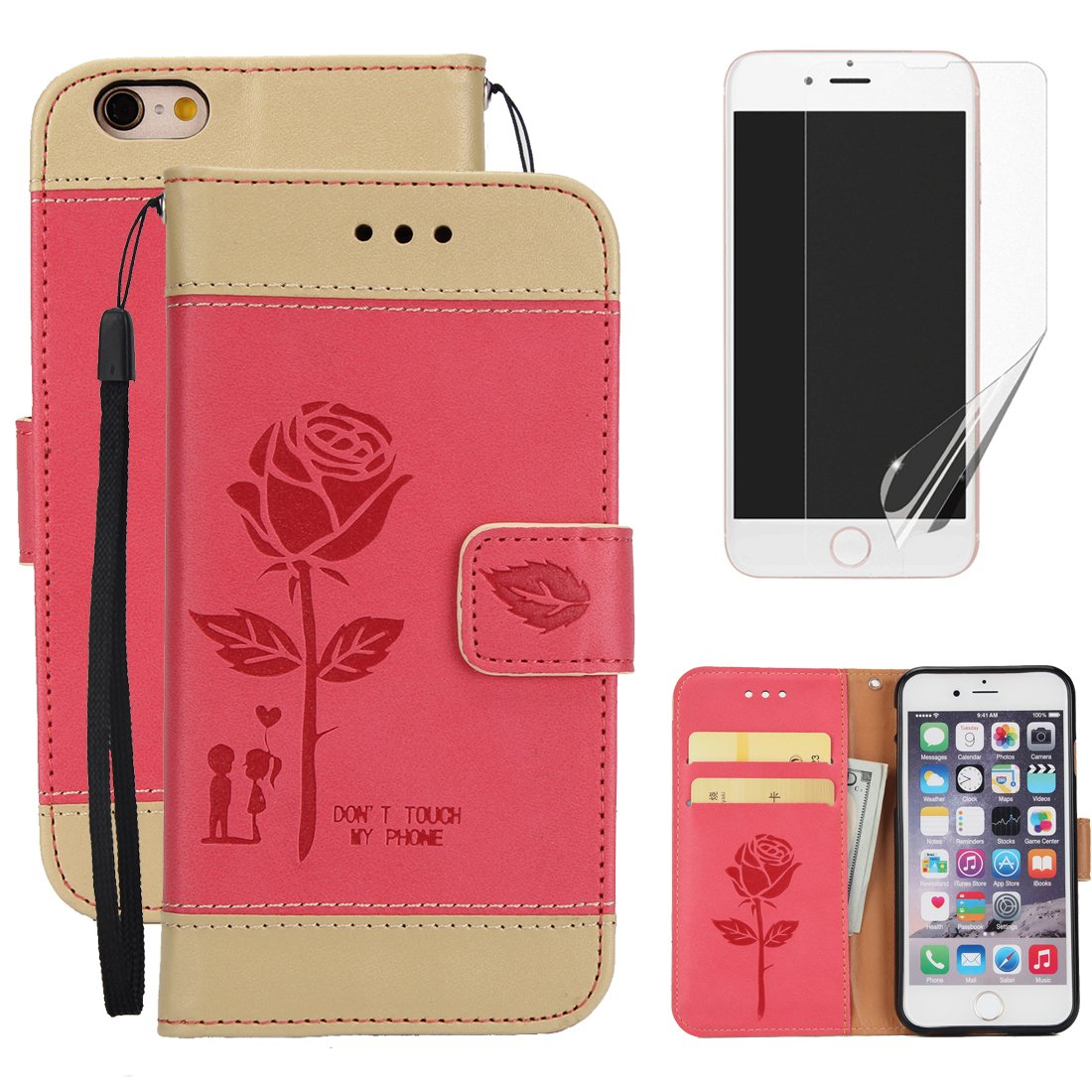 For iphone 7 Plus (5.5inch) Wallet Case with Screen Protector , OYIME [Lovers Under Rose] Color Stitching Design Don't Touch My Phone Leather Kickstand Magnetic Holster with Card Holder Full Body Protective Flip Cover with Wrist Lanyard - White