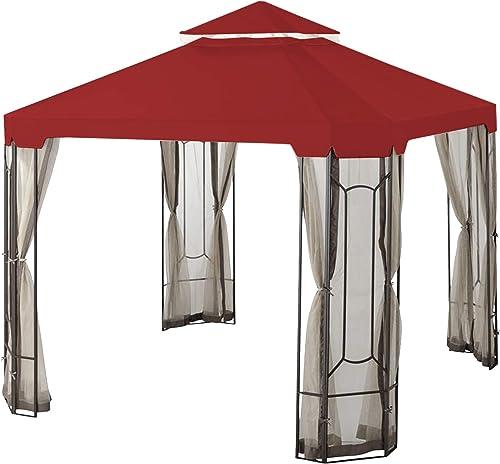 Garden Winds Replacement Canopy for The Cottleville Gazebo – Riplock 350 – Cinnabar