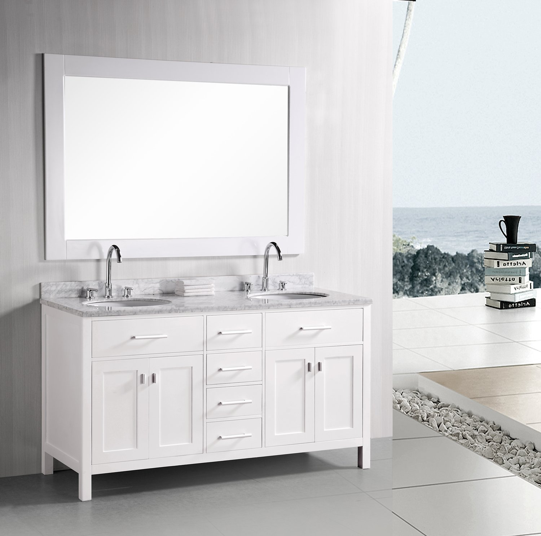 white double sink vanity. Design Element DEC076B W London 72 Inch Double Sink Vanity Set in Pearl  White Finish Bathroom Vanities Amazon com