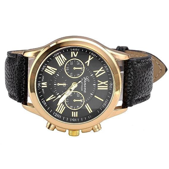 Amazon.com: Yaida Womens Fashion Geneva Roman Numerals Faux Leather Analog Quartz Wrist Watch (Black): Clothing