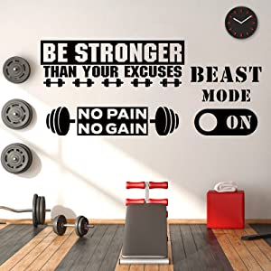 3 Pieces Gym Wall Decal Exercise Wall Sticker Be Stronger Than Your Excuses Sticker No Pain No Gain Inspirational Wall Quotes Sticker Vinyl Wall Art Fitness Wall Decor for Gym Office Home