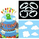 5pcs Cloud Shape Printing Pattern Mould Fondant Cutter Tool Set, DIY One-Step Modeling Cake Decoration Mold [Food Grade Plastic] for Christmas Party Wedding Dessert Decorators Sugarcraft Sugar
