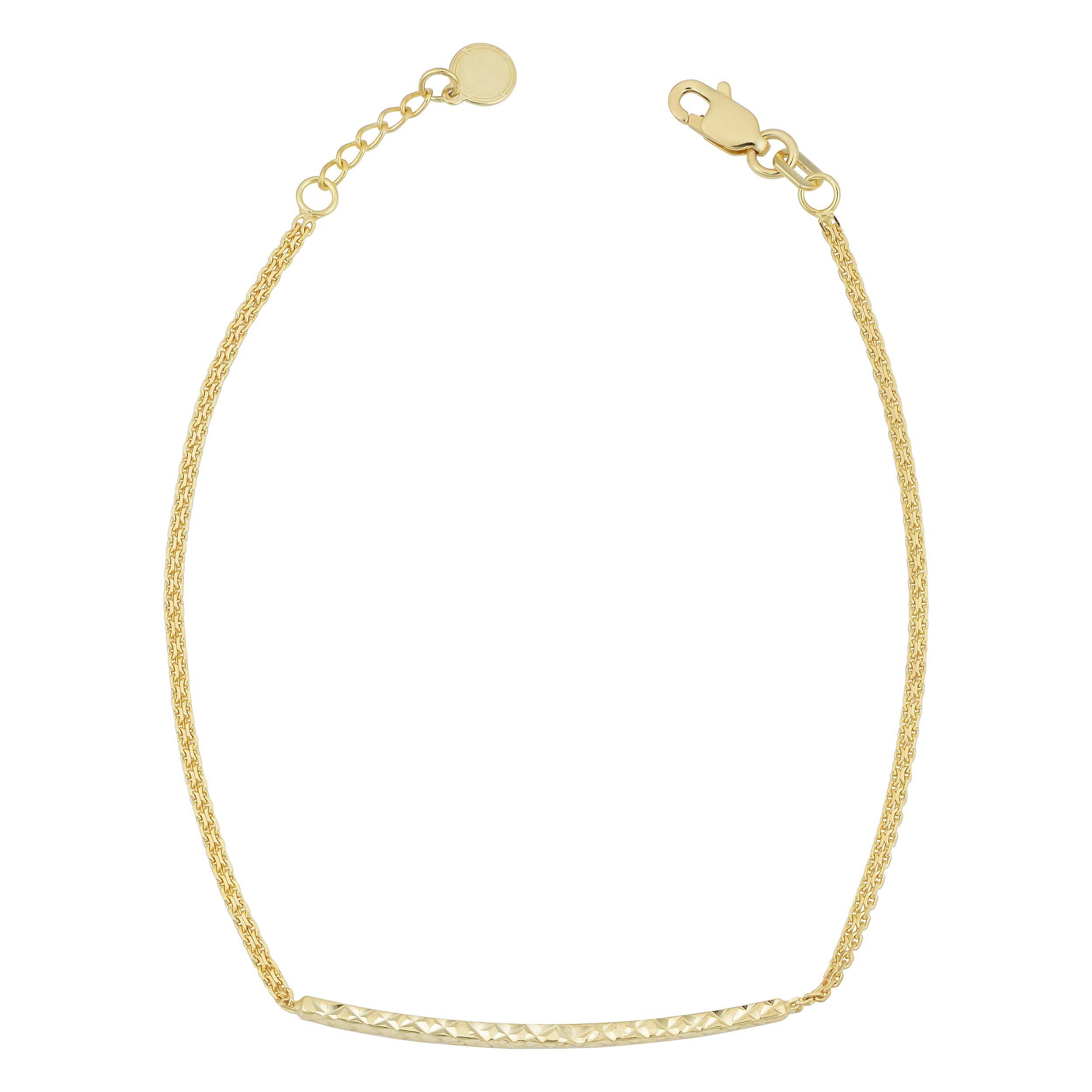 14k Yellow Gold Adjustable Length Double Strand Diamond-Cut Bar Bracelet (adjusts from 7'' - 7.5'')
