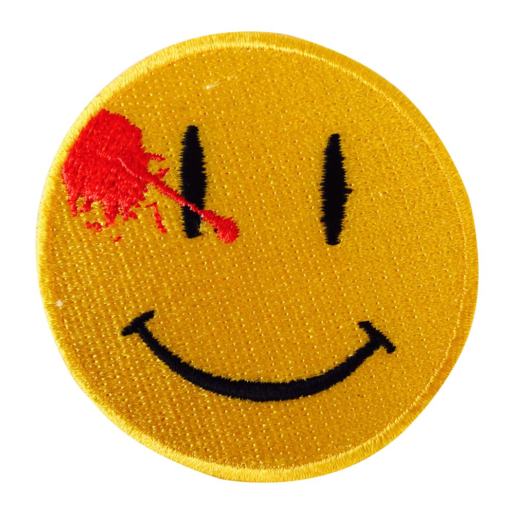 Watchmen Dead Smiley Face Iron on Sew on Embroidered Patch applique