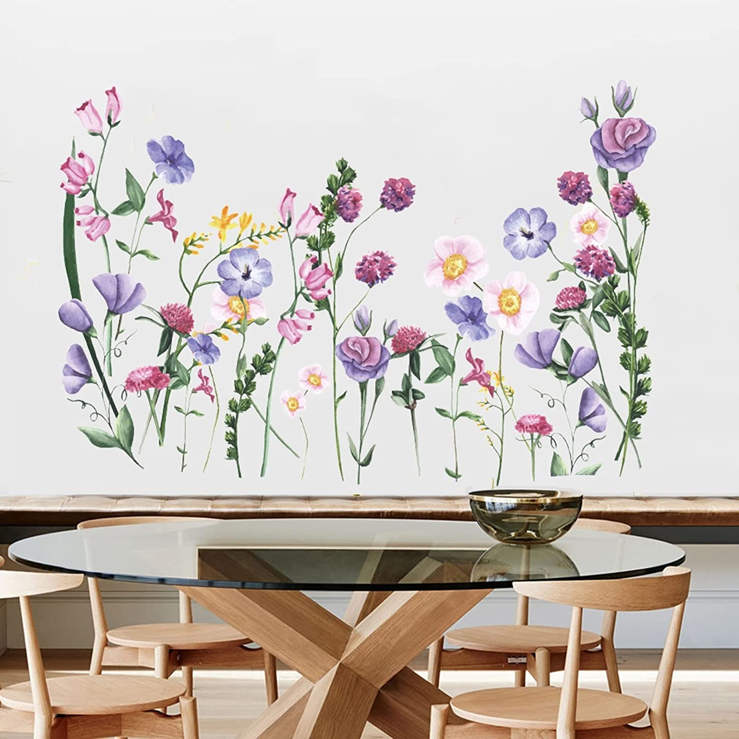 Colorful Flowers Vine Wall Stickers Spring Garden Floral Wall Decals Removable DIY Peel and Stick Art Murals for Kids Room Nursery Classroom Kitchen Living Room Bedroom Bathroom Decor (Colorful)