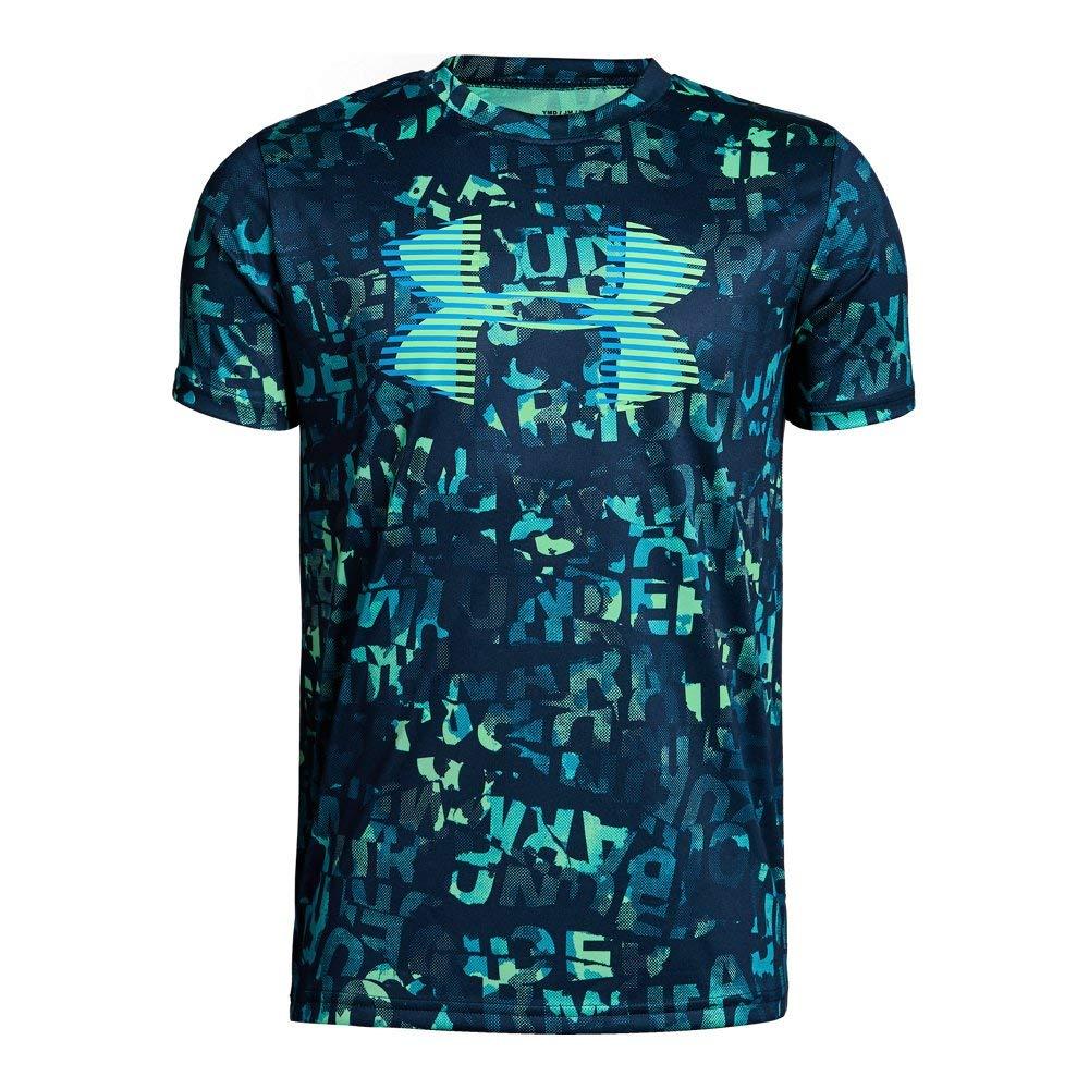Under Armour Boys' Tech Big Logo Printed T-Shirt, Academy (409)/Green Typhoon, Youth X-Small