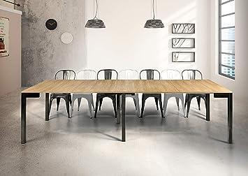 Tavolo Sala Da Pranzo Moderno.Milanihome Tavolo Da Pranzo Moderno Di Design A Consolle Cm 90 X 50 100 150 200 250 300 Struttura Nera Piano Naturale Per Sala Da Pranzo